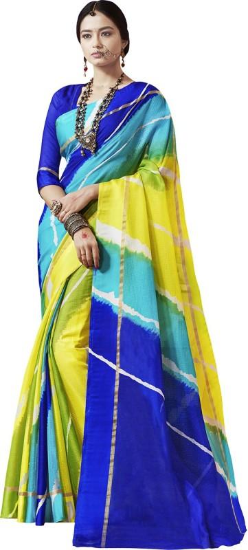 Ratnavati Striped Bandhej Kota Silk Saree(Multicolor)