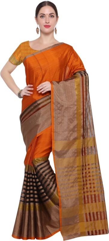 Saara Striped Daily Wear Kota Silk Saree(Orange, Black)