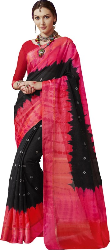 Ratnavati Striped Bandhej Kota Silk Saree(Pink, Black)