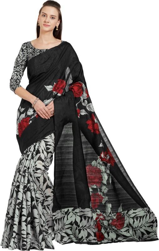 Mirchi Fashion Digital Prints Bhagalpuri Art Silk Saree(Black, Grey)
