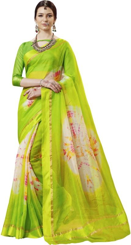 Ratnavati Striped Bandhej Kota Silk Saree(Green)