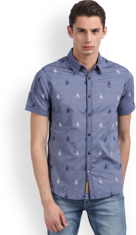 Tommy Hilfiger Mens Embroidered Casual Blue Shirt
