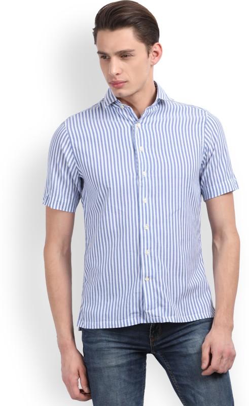 Gant Men Striped Casual White, Light Blue Shirt