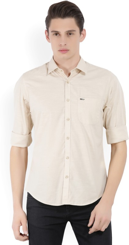 Peter England Mens Solid Casual Beige Shirt