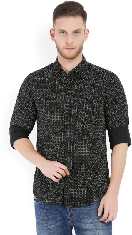 Peter England Mens Printed Casual Black Shirt