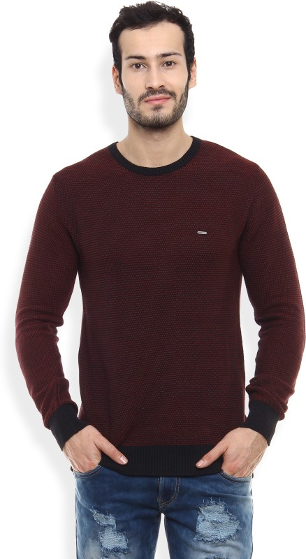 Numero Uno Self Design Round Neck Casual Mens Black, Maroon Sweater