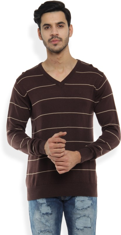 Allen Solly Self Design V-neck Casual Mens Brown Sweater