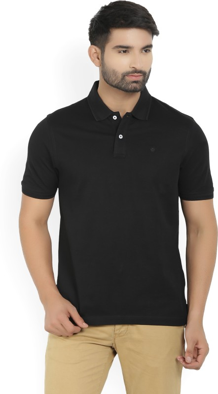 Louis Philippe Solid Mens Polo Neck Black T-Shirt