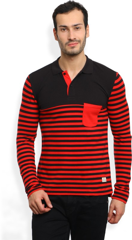 United Colors of Benetton. Striped Mens Polo Neck Red, Black T-Shirt