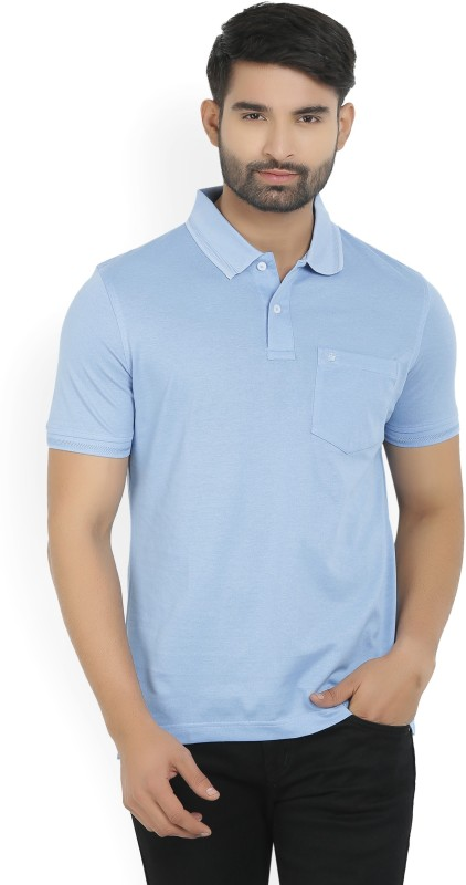 Louis Philippe Solid Mens Polo Neck Light Blue T-Shirt