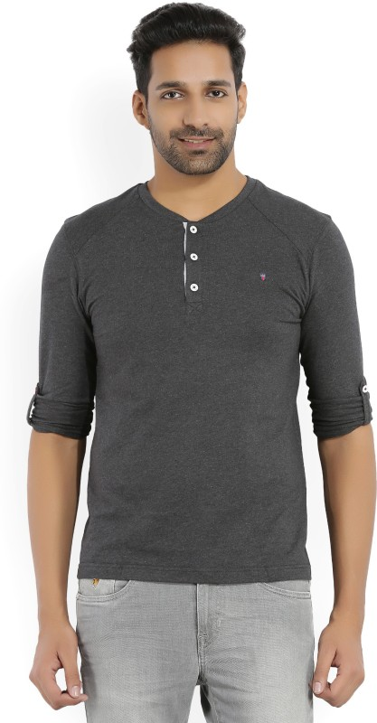 LP Louis Philippe Solid Mens Henley Grey T-Shirt