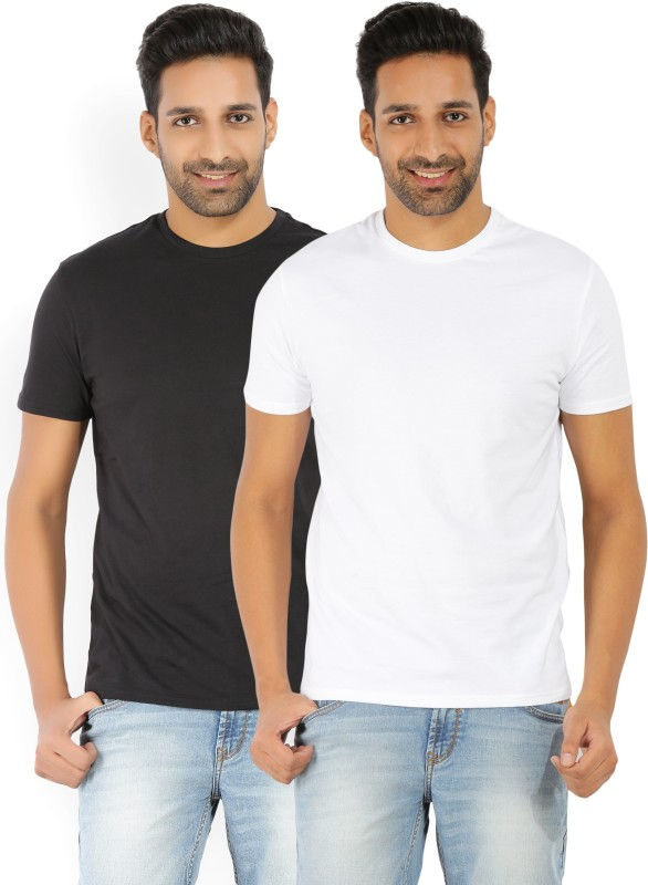 Levis Solid Mens Round Neck Black, White T-Shirt(Pack of 2)