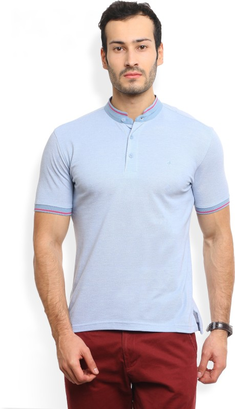 John Players Solid Mens Mandarin Collar Blue T-Shirt