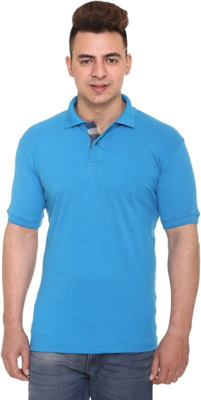 100 hands Solid Men Polo Neck Blue T-Shirt