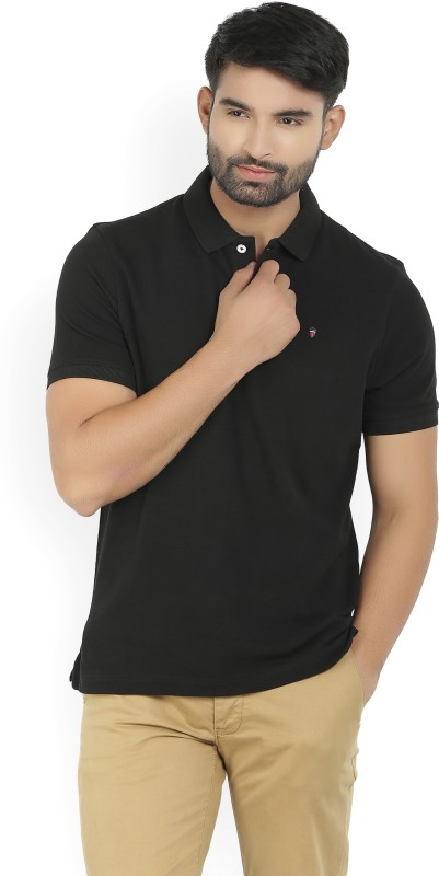 LP Louis Philippe Solid Mens Polo Neck Black T-Shirt