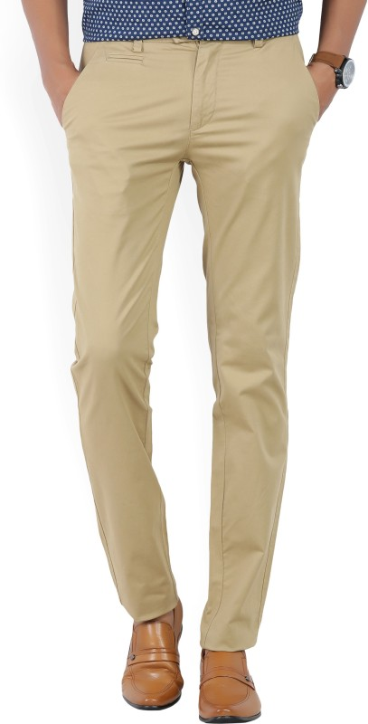 Peter England Slim Fit Mens Beige Trousers