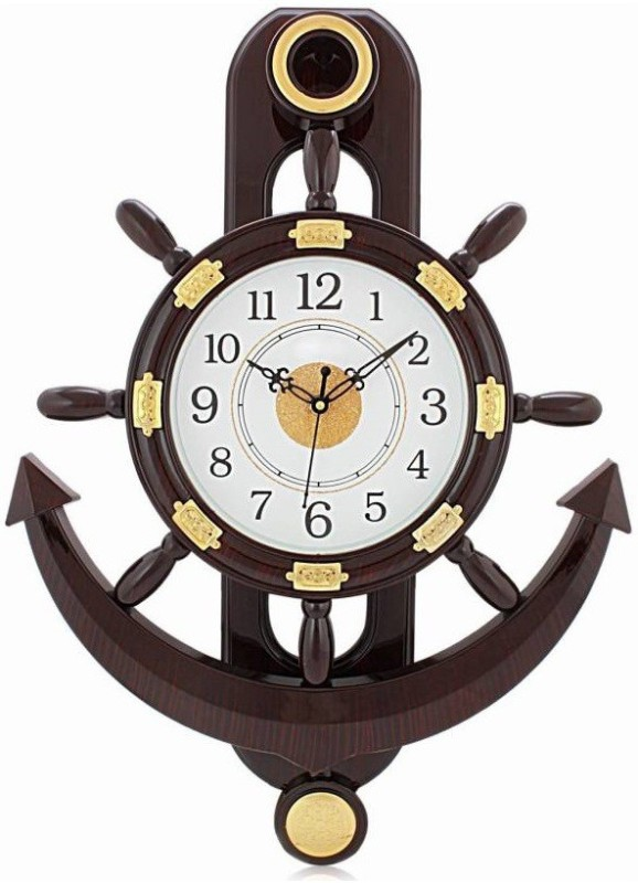 Altra Quartz Analog Wall Clock(Brown, White, With Glass)