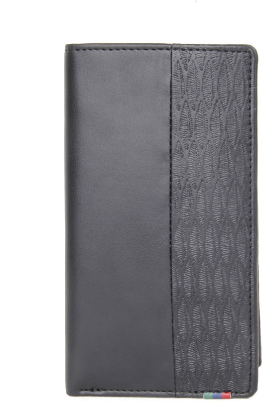 Peter England Men Black Genuine Leather Wallet(15 Card Slots)