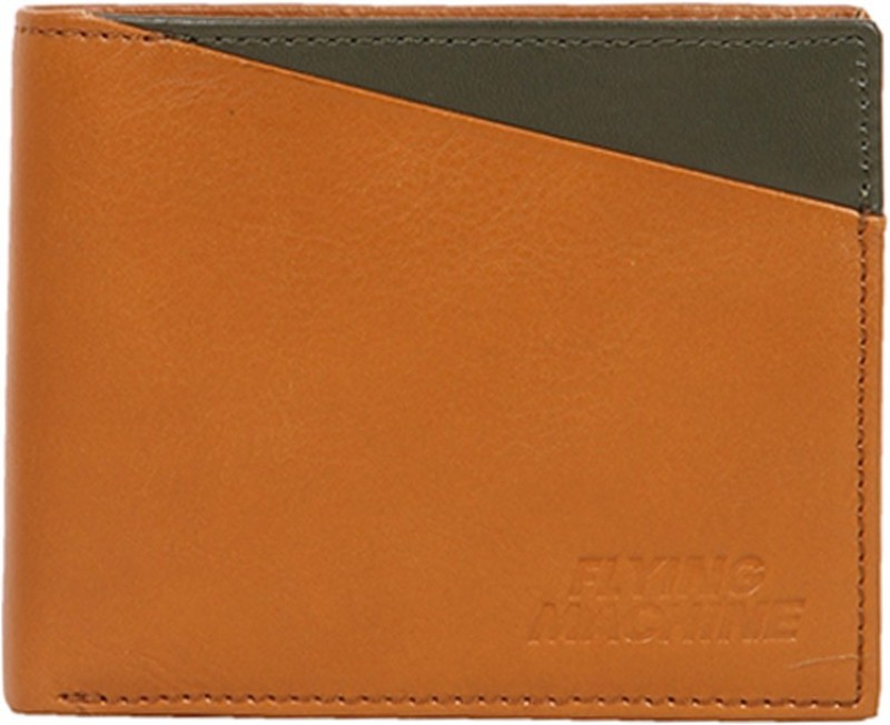 Flying Machine Men Tan, Green Genuine Leather Wallet(5 Card Slots)