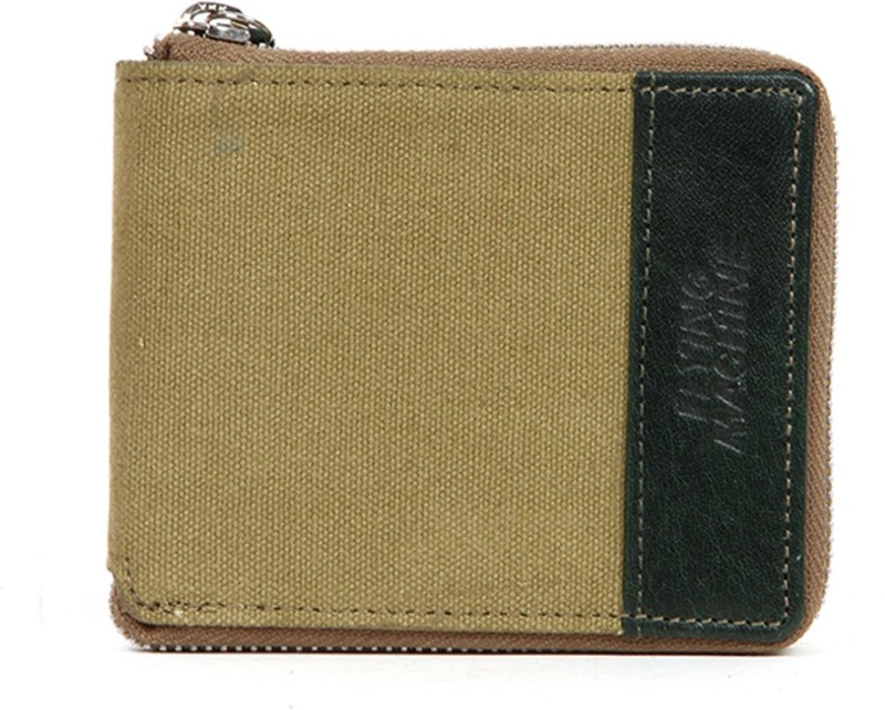 Flying Machine Men Green Genuine Leather Wallet(5 Card Slots)
