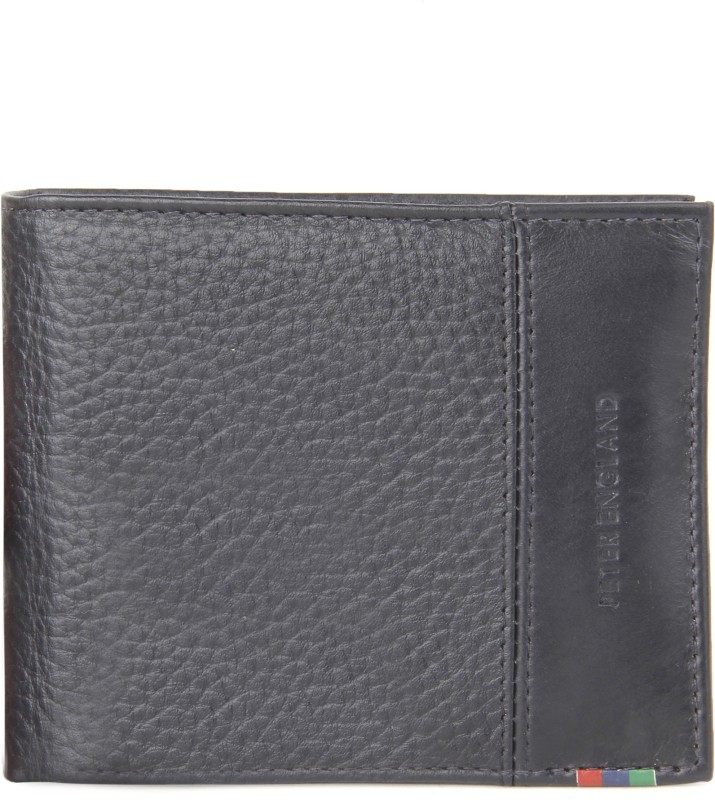 Peter England Men Black Genuine Leather Wallet(7 Card Slots)