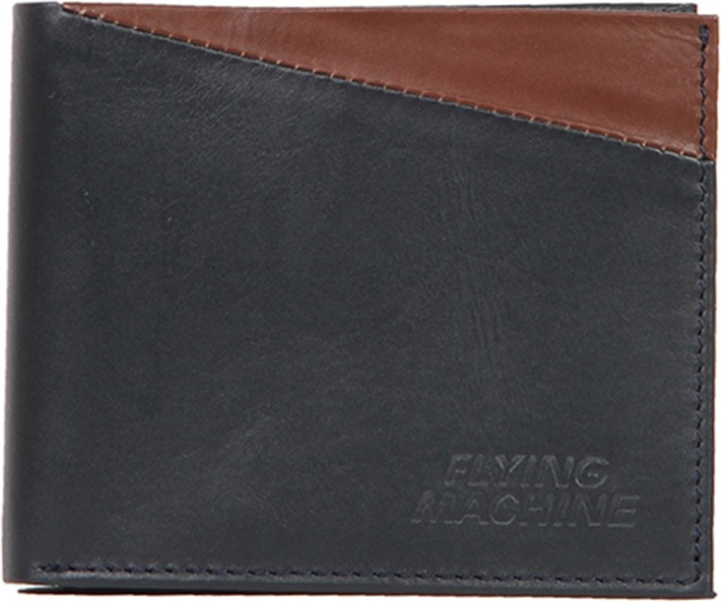 Flying Machine Men Blue, Brown Genuine Leather Wallet(5 Card Slots)
