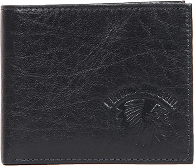 Flying Machine Men Blue Genuine Leather Wallet(5 Card Slots)