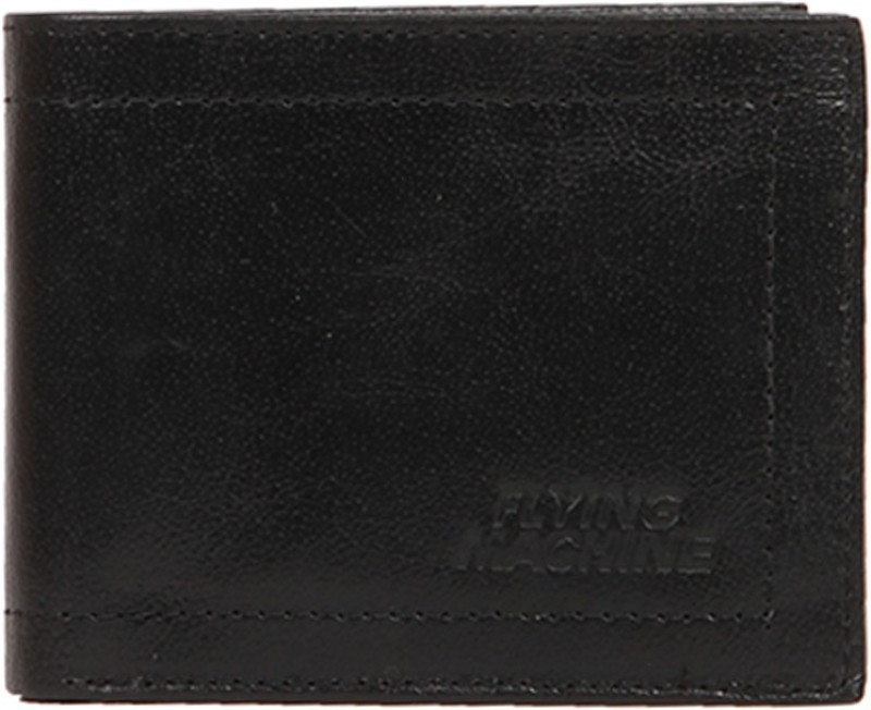 Flying Machine Men Black Genuine Leather Wallet(5 Card Slots)