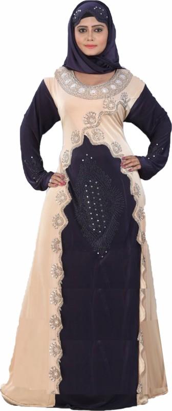 Reya Abaya_7 Lycra Self Design Abaya With Hijab(Beige, Blue)