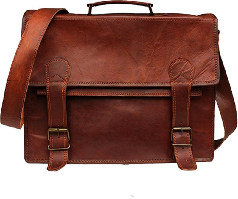 The Leather Bags House SELB11 Large Briefcase - For Men & Women(Brown)