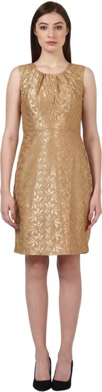 Park Avenue Women Fit and Flare Beige Dress