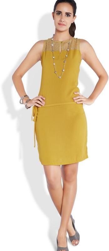 Park Avenue Women's Gathered Yellow Dress