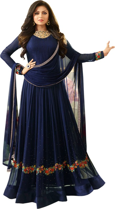Bipolar Life Faux Georgette Embroidered Semi-stitched Salwar Suit Dupatta Material