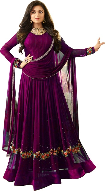 Anjani Creation Faux Georgette Embroidered Semi-stitched Salwar Suit Dupatta Material