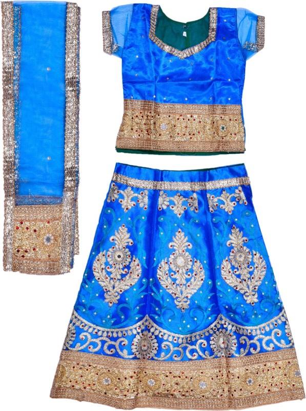 Wish Karo Girls Lehenga Choli Ethnic Wear Embroidered Ghagra, Choli, Dupatta Set(Blue, Pack of 1)