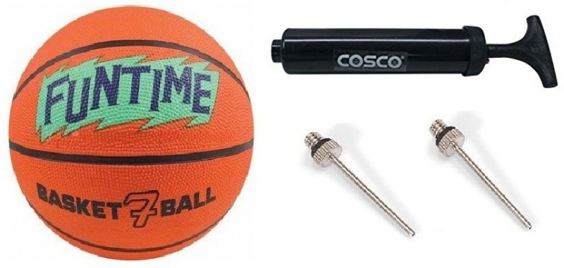 Cosco Combo of Three, One 'Funtime' Basketball Size-7 One Pump and Two Needles- Basketball Kit