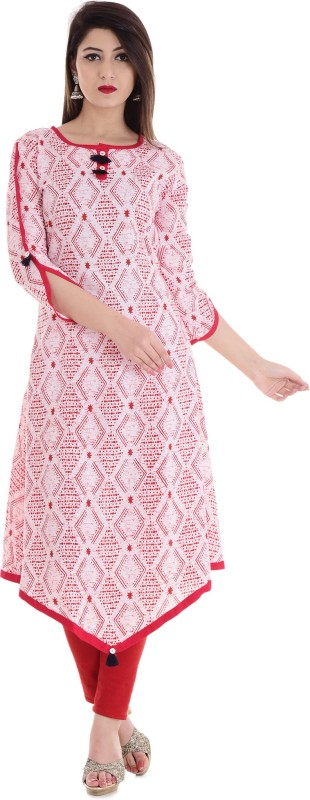 Stylum Casual Printed Women Kurti(White, Red, Blue)