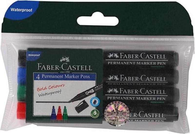 Faber-Castell Permanent Marker Pen Assorted Wallet(Set of 4, Red, Blue, Green ,...