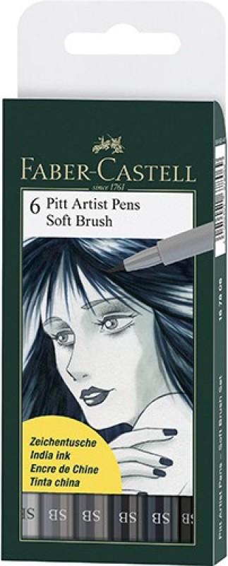 Faber-Castell Pitt Artist Pen Color (B) Pens (Soft Brush)(Set of 6, Grey)