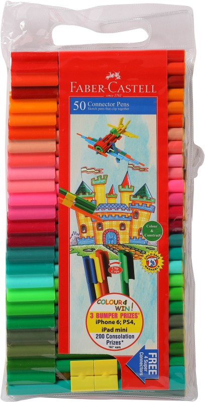 Faber-Castell Connector Pens(Set of 50, Asssorted)