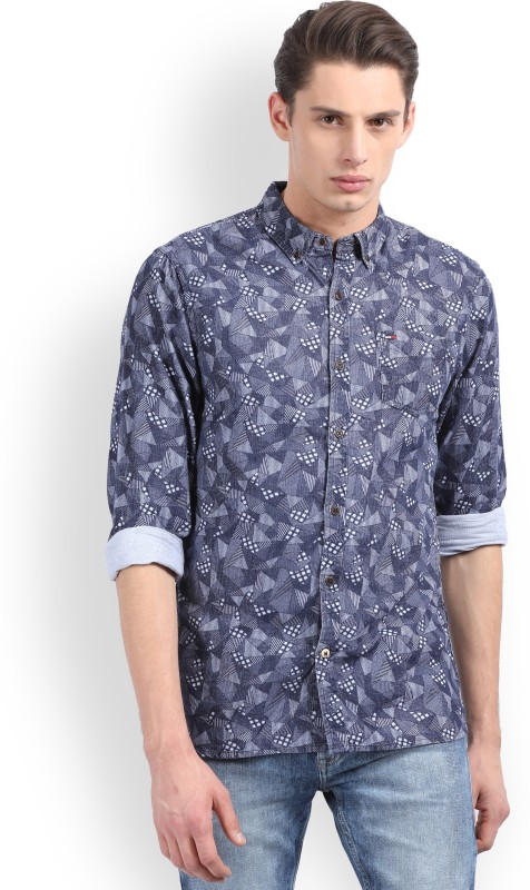 Tommy Hilfiger Mens Printed Casual Blue Shirt