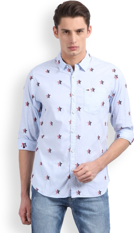 Tommy Hilfiger Mens Printed Casual Light Blue Shirt