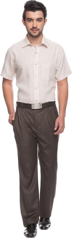 Raymond Mens Solid Formal Linen Beige Shirt