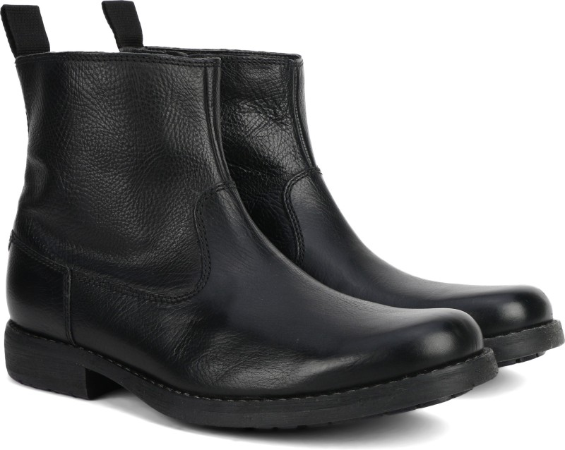 Clarks Ashburn Zip Black Leather Boots For Men(Black)