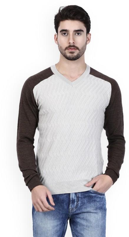 Raymond Solid V-neck Formal Mens White Sweater