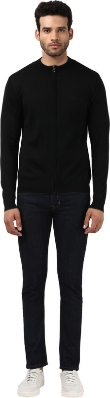 Raymond Solid Round Neck Casual Mens Black Sweater