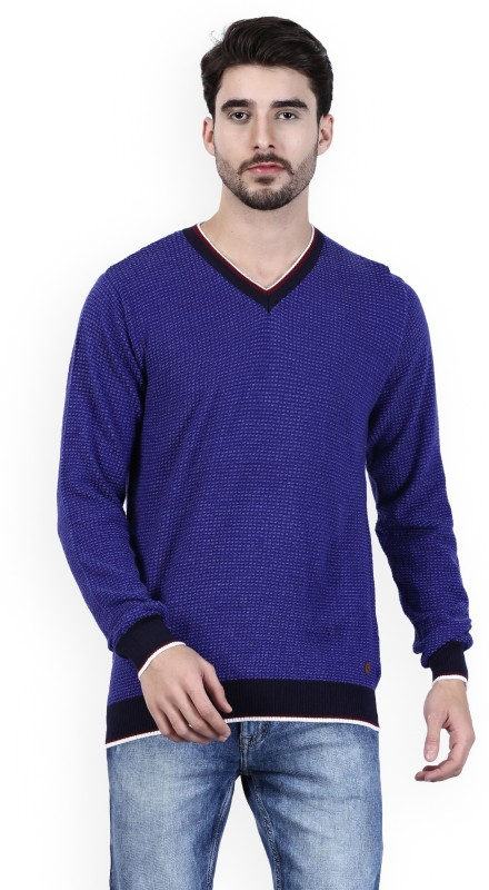 Raymond Solid V-neck Formal Mens Blue Sweater