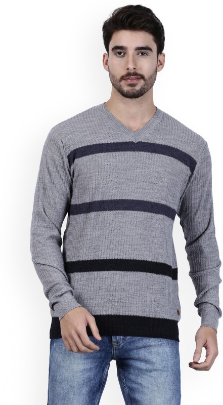 Raymond Striped Round Neck Formal Mens Grey Sweater