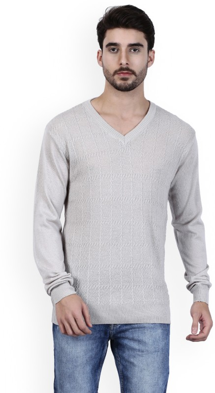 Raymond Solid V-neck Formal Mens Grey Sweater