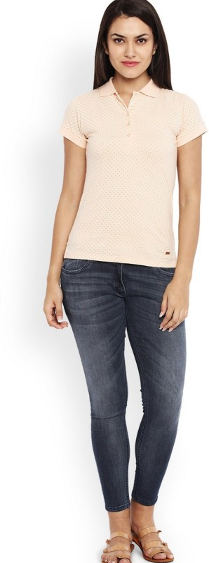 Park Avenue Solid Women Henley Beige T-Shirt